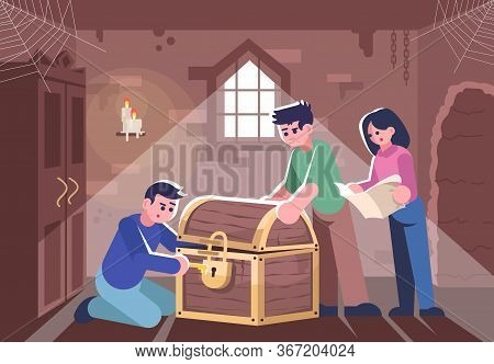 Friends Opening Closed Chest Flat Vector Illustration. People In Escape Room, Woman And Men Solving