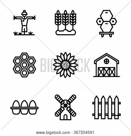 Agriculture Icon Set Including Scarecrow, Agriculture, Farm, Farming, Ear, Wheat, Honey, Bee, Beehiv