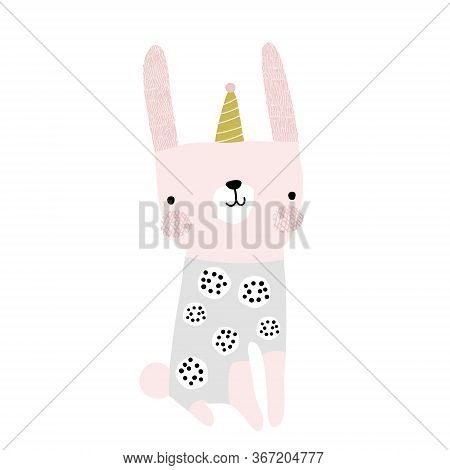 Cute Bunny With Party Hat. Childish Print For T-shirt, Apparel, Cards, Poster, Nursery Decoration. V