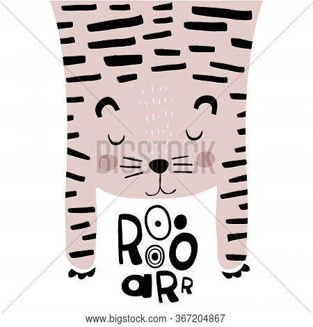 Cute Tiger Childish Print. Perfect For T-shirt, Apparel, Cards, Poster, Nursery Decoration. Vector I