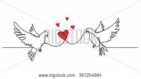 Dove, Pigeon Couple With Heart. Love Concept , Vector Simplicity. Continuous One Line Drawing Banner