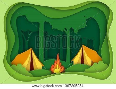 Pape Summer Landsape. Background For Summer Camp, Nature Tourism, Camping Design Concept.