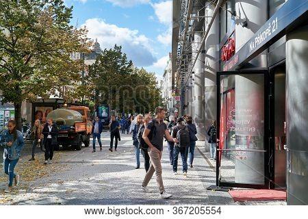 Prague, Czech Republic - September 30, 2019: People In A Popular Shopping Street In The Centre Of Pr