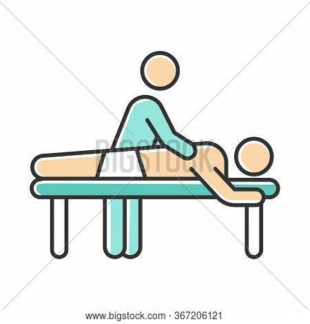Massage Color Icon. Spa Center Services. Professional Medical Procedure. Back Pain Relief. Masseur W