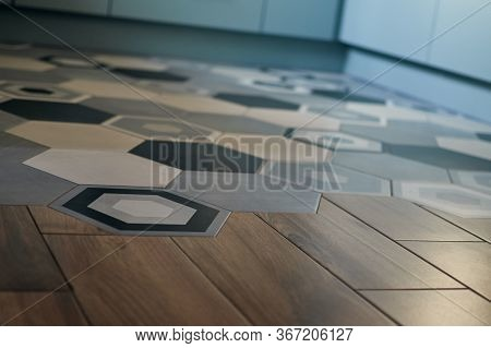 Decorative Fashion Ornament Pattern Tiles On The Floor In Europe. Wooden Parquet Room. Minimalist In