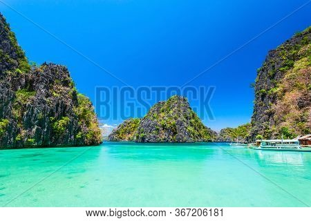 Blue Lagoon Tropical Landscape At The Coron Island Bay In Palawan Province Philippines