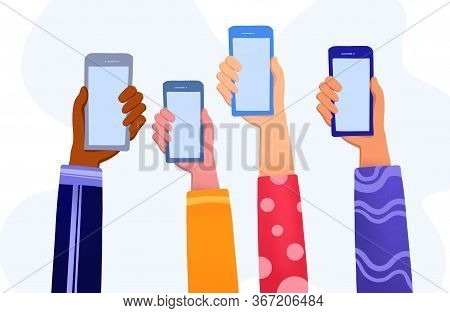 Hands Holding Smartphone With Online News Content, Group Of People Sharing News,announcement , Promo