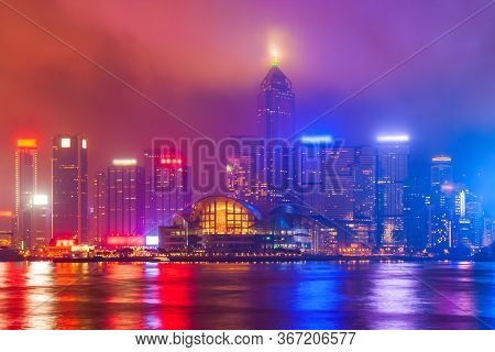 Hong Kong Island Skyline Viewed From The Victoria Harbour Waterfront. Hong Kong Is A City And Specia