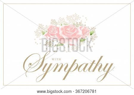 Pink Rose Bouquet On White Background Vector Sympathy Template