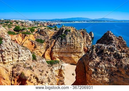 Ponta Da Piedade Or Point Of Mercy Is A Headland With Rock Formations Near Lagos Town In Algarve Reg
