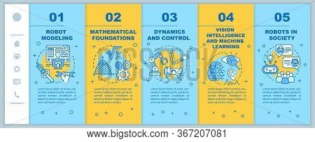 Robotics Courses Onboarding Mobile Web Pages Vector Template. Cybernetics. Responsive Smartphone Web