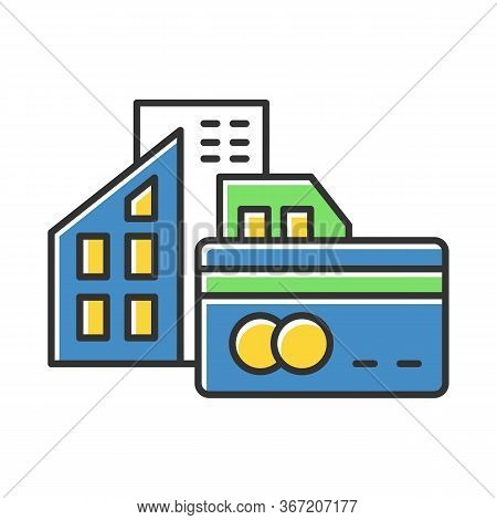 Small Business Credit Color Icon. Loan Money To Buy Real Estate Building. Buying, Renting House. Bor