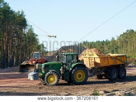 Dolle, Germany - September 21, 2019: Clearing A Forest For The Construction Of The A14 Motorway Nort