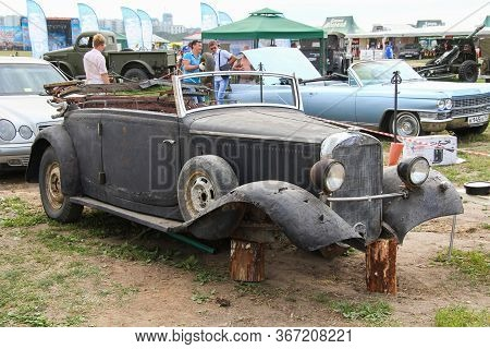 Moscow, Russia - July 6, 2012: Old Unrestored Car Frame Presented At The Annual Motorshow Autoexotic