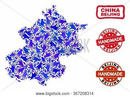 Vector Handmade Combination Of Beijing City Map And Rubber Stamp Seals. Mosaic Beijing City Map Is M