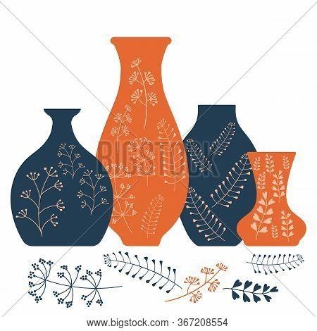 Handmade Ceramics, Ceramic Vases And Pots With A Botanical Pattern. Pottery Hobby. Flat Vector Illus