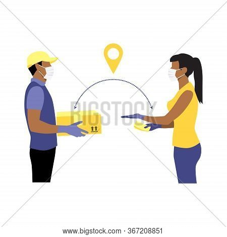 Vector Illustration Of Black Courier In Protective Gloves And Mask With Package And Black Woman Reac