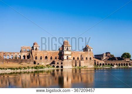 Jahaz Mahal Or Ship Palace Ruins In Mandu Ancient City In Madhya Pradesh State Of India