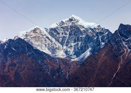 Kangtega Mountain Landscape In Everest Or Khumbu Region In Himalaya In Nepal At Sunset