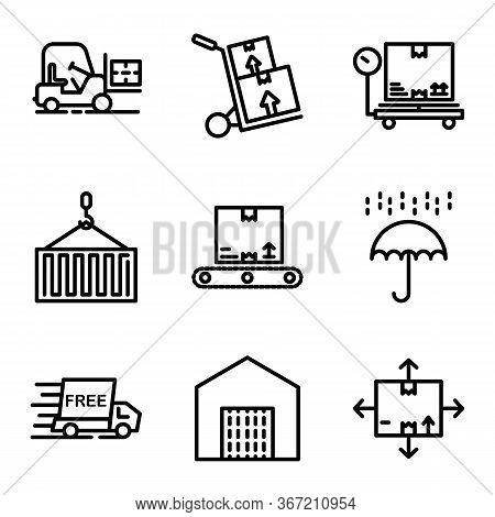 Delivery Icon Set Including Forklift,logistic,vehicle,cargo,delivery,box,scale,package,crane,contain