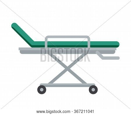 Emergency Department Stretchers Flat Illustration. Cartoon Medical Equipment For Injured Patients. H