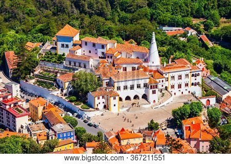 Sintra National Palace Aerial Panoramic View. National Palace Or Palacio Nacional De Sintra Is A Hou