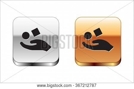 Black Cube Levitating Above Hand Icon Isolated On White Background. Levitation Symbol. Silver-gold S