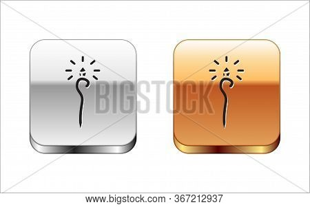 Black Magic Staff Icon Isolated On White Background. Magic Wand, Scepter, Stick, Rod. Silver-gold Sq
