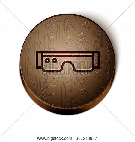 Brown Line Smart Glasses Mounted On Spectacles Icon Isolated On White Background. Wearable Electroni