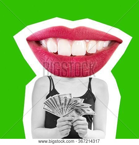 Collage in magazine style with happy excited emotions. Female smile instead of  her head. emotional concept, yellow background. Young happy woman holding cash money dollars happy smiling