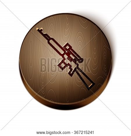 Brown Line Sniper Rifle With Scope Icon Isolated On White Background. Wooden Circle Button. Vector
