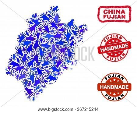 Vector Handmade Composition Of Fujian Province Map And Corroded Watermarks. Mosaic Fujian Province M