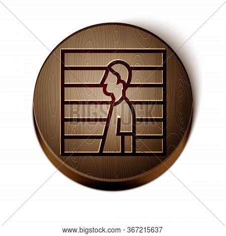 Brown Line Suspect Criminal Icon Isolated On White Background. The Criminal In Prison, Suspected Nea