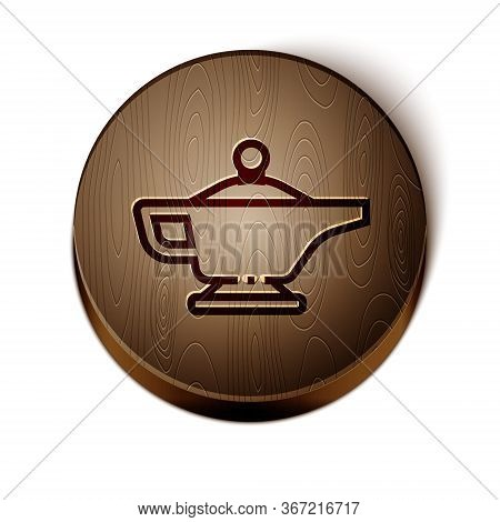 Brown Line Magic Lamp Or Aladdin Lamp Icon Isolated On White Background. Spiritual Lamp For Wish. Wo