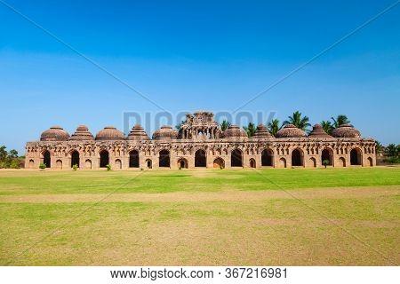 Elephant Stables, Part Of The Zanana Enclosures At Hampi, The Centre Of The Hindu Vijayanagara Empir