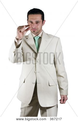 Businessman Pointing Out Little Importance