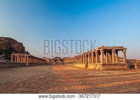 Market Group Monuments At Hampi Was The Centre Of The Hindu Vijayanagara Empire In Karnataka State I