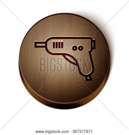 Brown Line Electric Hot Glue Gun Icon Isolated On White Background. Hot Pistol Glue. Hot Repair Work