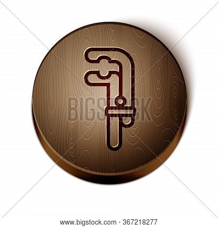 Brown Line Clamp Tool Icon Isolated On White Background. Locksmith Tool. Wooden Circle Button. Vecto