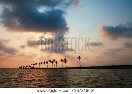 Alappuzha Backwaters Landscape In Kerala State In India At Sunset