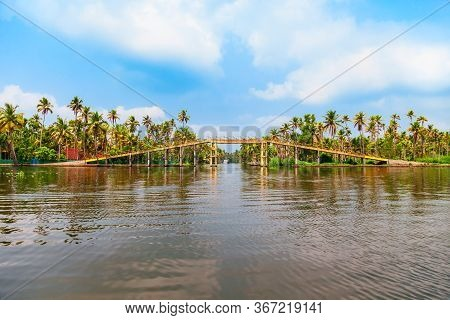 Alappuzha Backwaters Landscape With Bridge In Kerala State In India