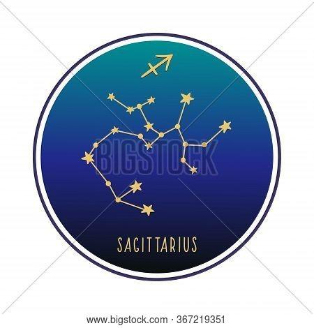 Sagittarius. Zodiac Constellation Sagittarius. Vector Color Illustration. Sagittarius Constellation