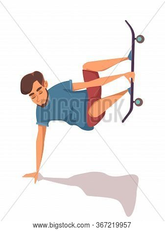 Cartoon Happy Male Character Doing Stunt On Skateboard Isolated On White Backdrop. Excited Male Teen