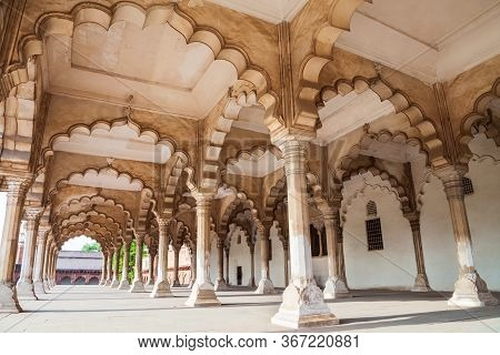 Interior Of Diwan I Am Or Hall Of Public Audience At The Agra Fort, A Historical Fort In Agra City,