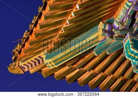 Roof Details On The Illuminated Buddhist Pagoda On Top Of The Jingshan Park Hill, Prospect Hill, In