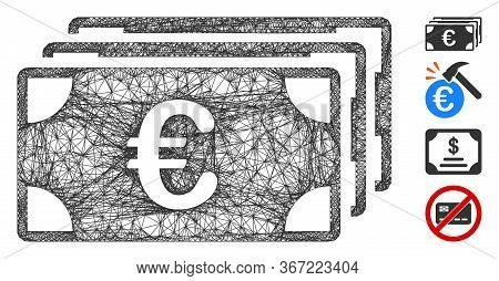Mesh Euro Banknotes Web 2d Vector Illustration. Carcass Model Is Based On Euro Banknotes Flat Icon.