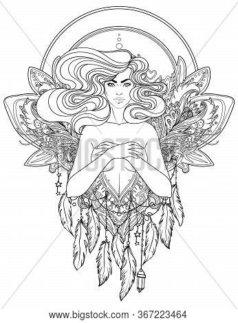 Pretty Fairy Elf. Portrait Of Young Woman View With Long Hair. Pixie Pagan Princess. Vector Isolated