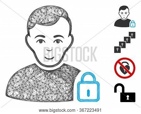 Mesh User Lock Web Symbol Vector Illustration. Model Is Based On User Lock Flat Icon. Network Forms