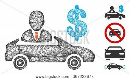 Mesh Car Seller Web Icon Vector Illustration. Carcass Model Is Created From Car Seller Flat Icon. Me