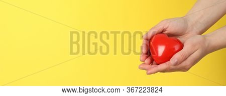 Female Hands Hold Heart On Yellow Background. Health Care, Organ Donation